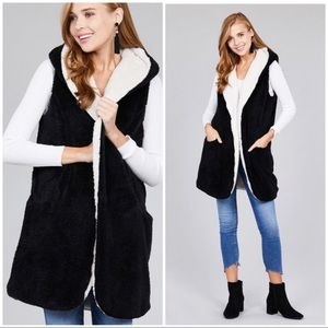 Jackets & Blazers - BLACK WHITE reversible FAUX FUR Vest - Hoodie